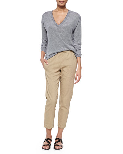 Trulinda Striped Long-Sleeve Top & Korene Pull-On Tapered Pants