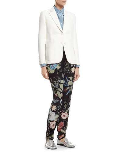White Techno Cotton Jacket, Bleach Washed Denim Shirt & Flora Knight Print ...