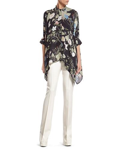Flora Knight Print Silk Cape Shirt & White Wool 60's Flare Pant ...