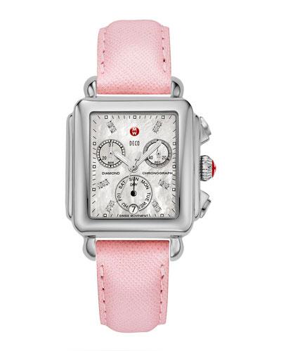 Deco Diamond Watch Head & 18mm Saffiano Leather Strap