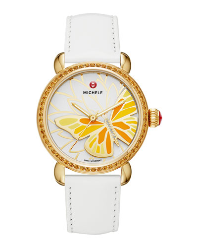 Garden Party Yellow Topaz Watch Head & 18mm Patent Leather Strap