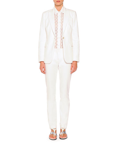 Techno Cotton Single-Button Blazer, Sheer Box-Textured Blouse & Cristina ...