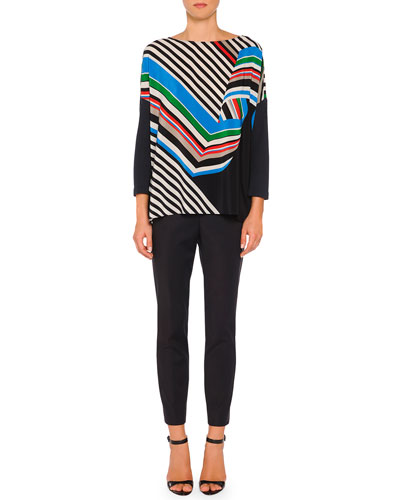 Diagonal Swirl Striped Ruffled Tunic & New Audrey Slim-Fit Side-Zip Pants