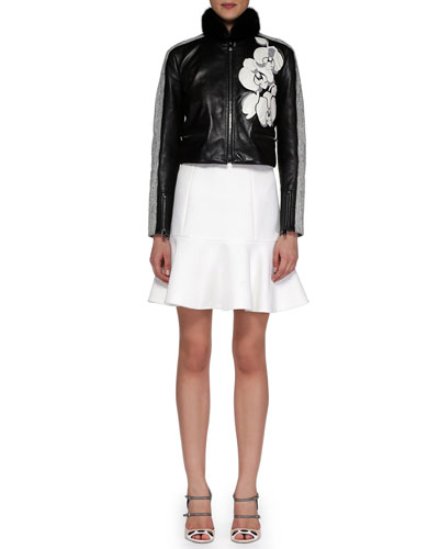 Mink-Fur-Collar Leather/Tweed Jacket & Deep Flounce Poplin Skirt