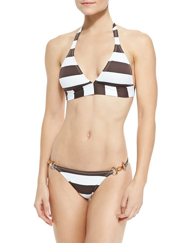 Striped Banded Halter Top & Harness Swim Bottom