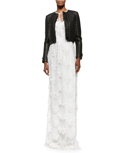 Studded Quilted Leather Jacket & Embroidered Flower Lace Dress