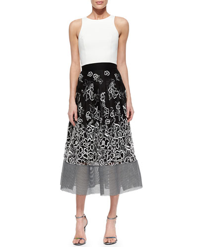 Back-Cutout Crop Top & Embroidered Floral Midi Ball Skirt