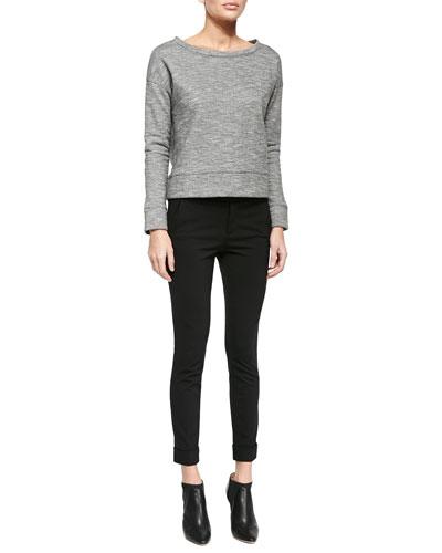 Oversized Boat-Neck Fleece Sweatshirt & Ankle Pants W/ Rolled Cuffs