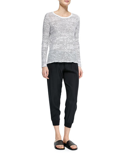 Long-Sleeve Striped Tee & Cropped Pants W/ Elastic Cuffs