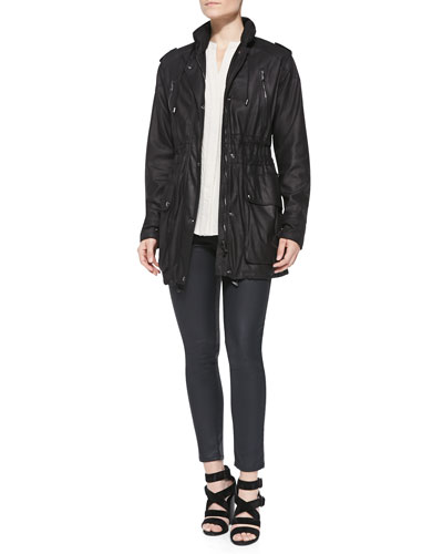 Leather Toggle-Hem Anorak Jacket, Sleeveless Hammered-Texture Blouse & Coated Zip-Pocket Skinny Jeans