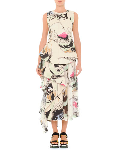 Abstract Printed Top & Skirt with Side Flounce