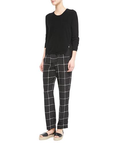Zip-Hem Knit Sweater & Windowpane-Print Relaxed Drawstring Pants