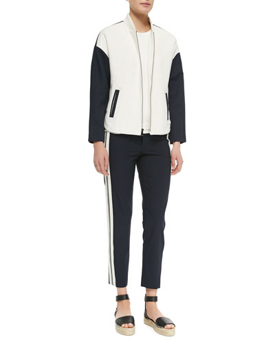 Colorblock Knit Bomber Jacket, Sleeveless Jacquard Shell & Stripe-Side ...