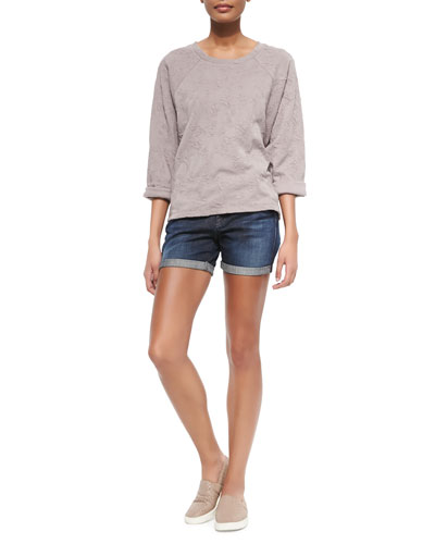 Knit Jacquard Pullover Sweatshirt & Mason Faded Cuffed Denim Shorts