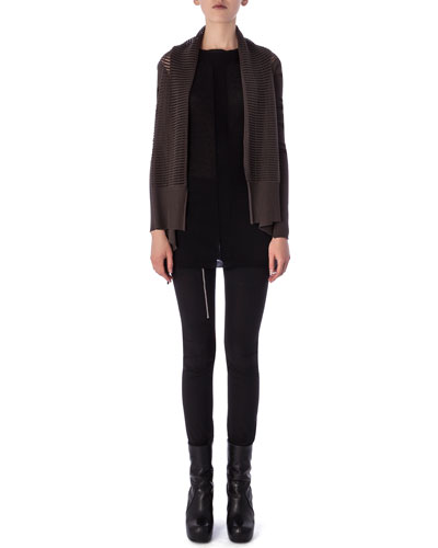 Aircut Moderate-Rise Leggings in Stretch Knit, Tunica Samincata Sleeveless Tunic & High-Low Cardigan in Cutout Knit