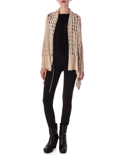 High-Low Cardigan in New Wool Knit, Aircut Moderate-Rise Leggings in ...