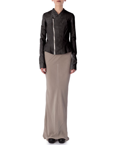 Princess Lambskin Leather Biker Jacket & Long Coda Silk Shantung Skirt