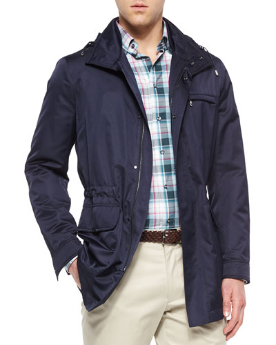 Multi-Plaid Woven Sport Shirt & Nylon Car Coat with Removable Hood