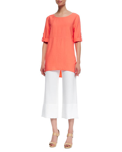 Cabo Crinkled Long Tabbed-Sleeve Tunic & Cabo Crinkle Beach Capri Pants, Petite