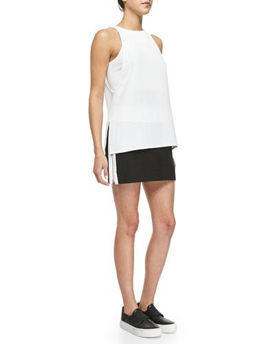 9ea3ddc77fed55 Helmut Lang Raze Patterned Layered Top   Rafter Side-Zip Miniskirt ...