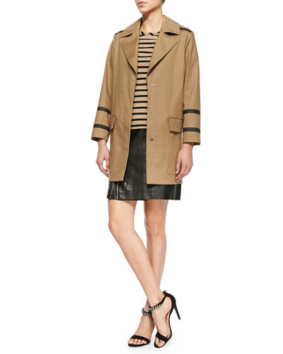 Contrast-Seamed Bonded Trench Coat, Short-Sleeve Striped High-Low Tunic & Side-Zip Leather Skirt