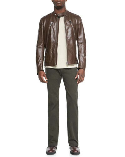 Leather Zip Moto Jacket, Garment-Dyed Crewneck Tee & Slim-Fit Denim Pants