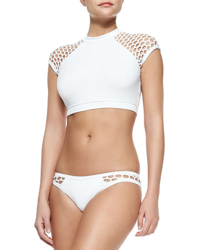 Mesh-Sleeve Cropped Rashguard, Mesh-Side Hipster Swim Bottom & Netted Embroidered Wide-Leg Coverup Pants