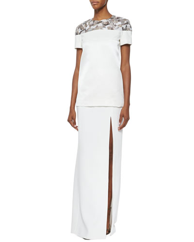 Short-Sleeve Embroidered Scuba Tee & High-Slit Long Straight Skirt