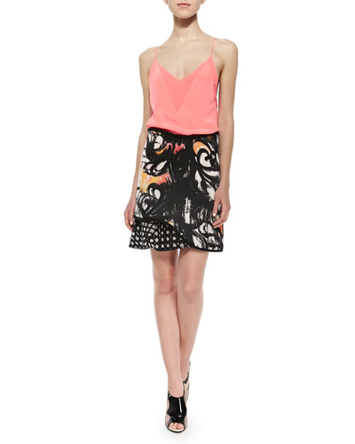 Chiffon-Inset V'd Tank Top & Mixed-Print Ruffle-Paneled Skirt