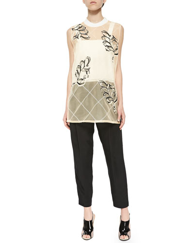 Lattice Plume-Print Sheer Tank, Double-Layered Wide-Strap Crop Top & Tab-Waist Pleated Cropped Pants