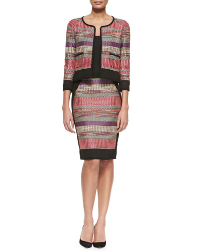 Woven Striped Jacket W/ Pockets & Pencil Skirt