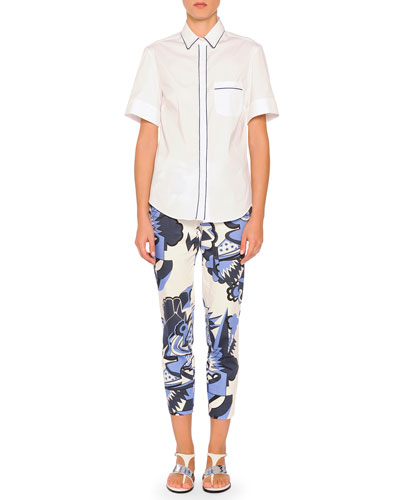 Short-Sleeve Contrast-Piped Blouse & Depero Monia-Print Cropped Pants