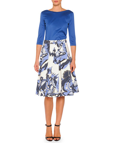 3/4-Sleeve Boat-Neck Tee & Depero-Print Pleated A-Line Skirt