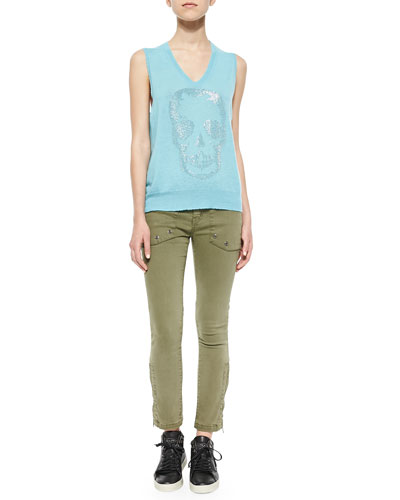 Cashmere Rhinestone-Skull Sleeveless Top & Straight-Leg Cotton-Stretch Trousers