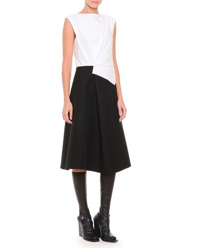 Fold-Pleated Colorblock Fit-And-Flare Dress & Napa Leather Knee-High Socks