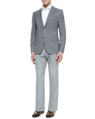 Windowpane Two-Button Suit Jacket, Contrast Oxford Dress Shirt & Wool Flat-Front Pants