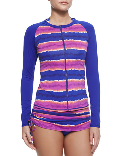 Solid/Printed Front-Zip Rashguard, Striped Underwire Halter Top & Striped Skirted Swim Bottom