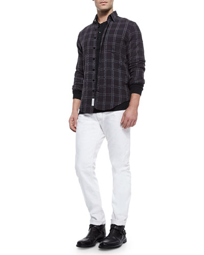 Placket Plaid Shirt, Griffin Slub-Knit Henley & White Selvedge Denim Jeans