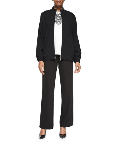 Mock-Neck Zip-Front Jacket, Sequined Sleeveless Shell & Full-Length Jog Pants, Petite