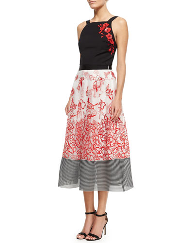 3D Embroidered Floral Tank & Embroidered Floral Midi Ball Skirt
