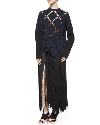 Open Argyle Fringe-Trimmed Top & Woven Long Fringe Skirt