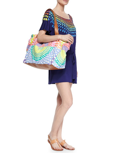 Embroidered Modal Short Jumpsuit Coverup & Printed Canvas/Leather Weekend Bag