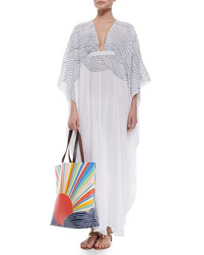 Embroidered Gauze Caftan & Sun-Print Vinyl Tote Bag