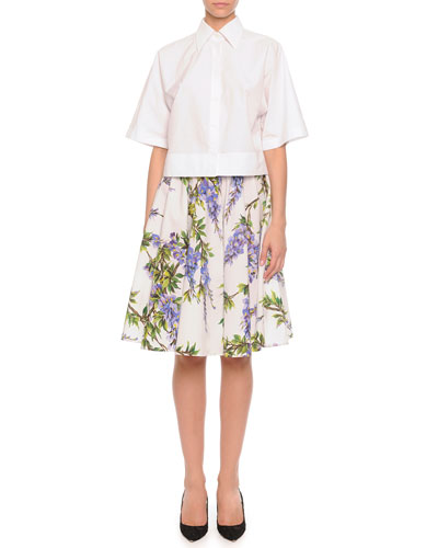 Button-Front Boxy Blouse & Wisteria-Print Pleated A-Line Skirt