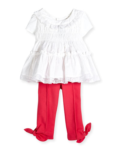 Lace-Trim Cotton Voile Dress & Pique-Knit Pants w/ Bow Detail