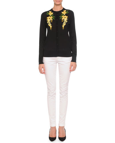 Floral-Embroidered Knit Cardigan & Flat-Front Slim Pants