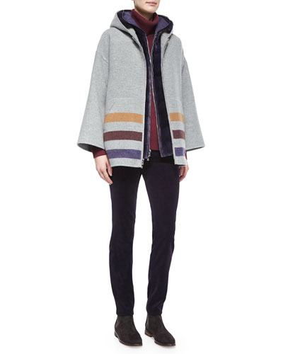 Harvie Striped Hooded Caban Coat, Windmate Mink Fur Reversible Vest, Glace Chain-Knit Turtleneck Sweater & Mathias Velvet Skinny Jeans