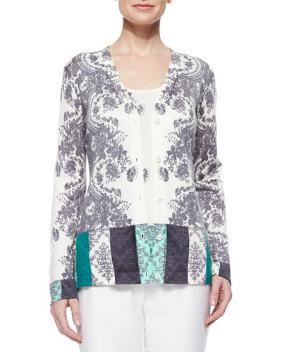 Colorblock Lace V-Neck Cardigan & Lace Colorblock Cashmere Tank