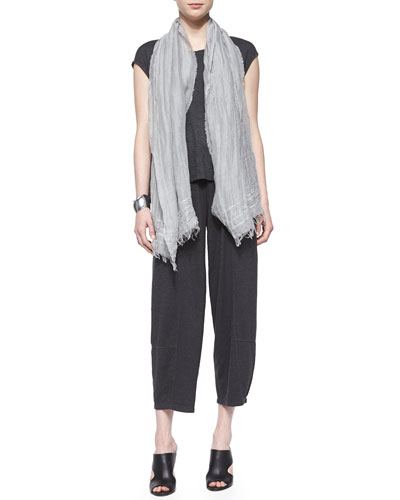 Short-Sleeve Hemp Twist Box Top, Iridescent Striped Scarf & Wide-Leg Ankle Hemp Twist Pants