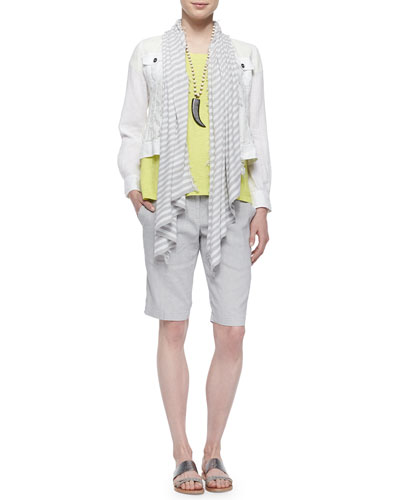 Organic Linen Jean Jacket, Short-Sleeve Box Top, Diagonal Striped Scarf & Organic Linen-Blend Walking Shorts